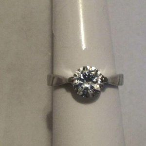 Solitaire ring 8 Woman Ring Silver CZ